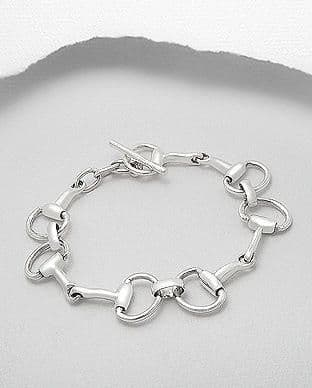 925 Sterling Silver Solid Horse Bit Bracelet